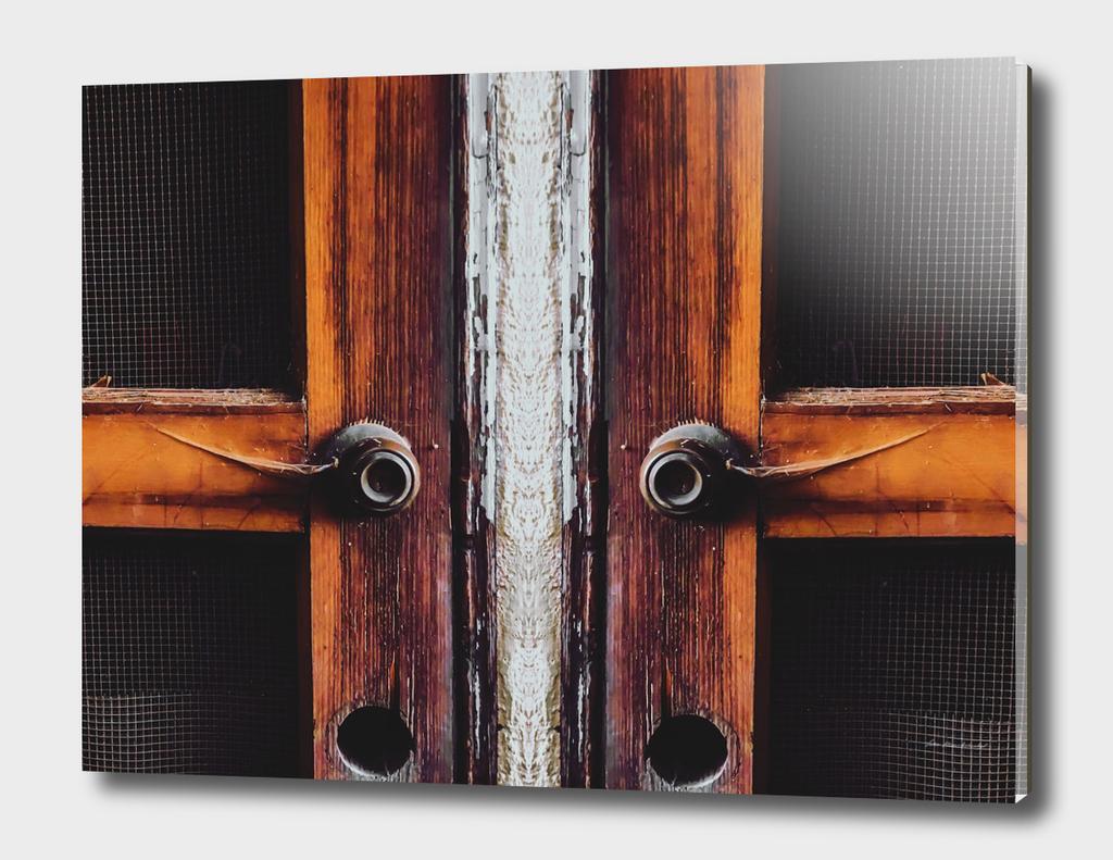 old vintage brown wood door