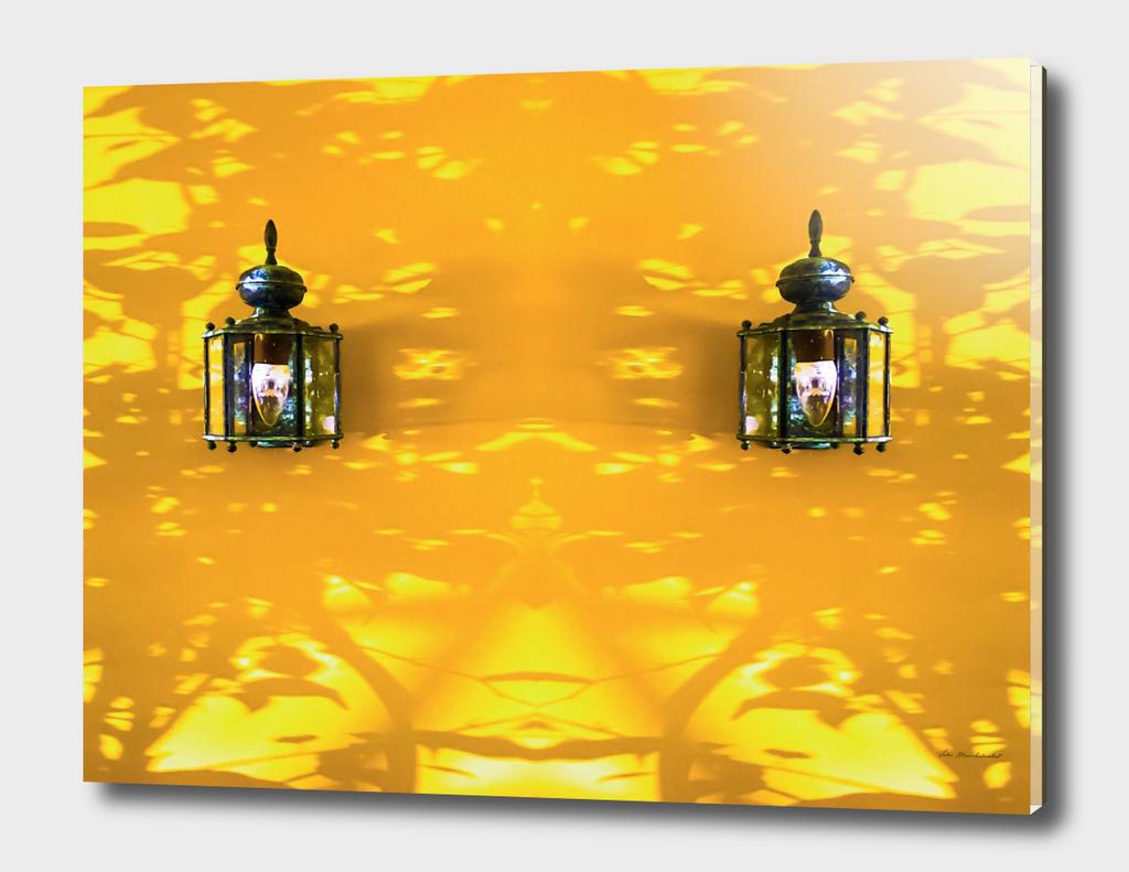 vintage indoor lighting with yellow background