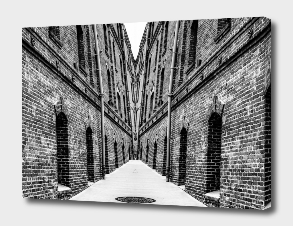 old brick building in black and white