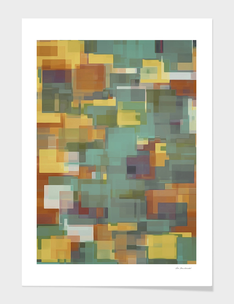 brown blue yellow square pattern abstract background