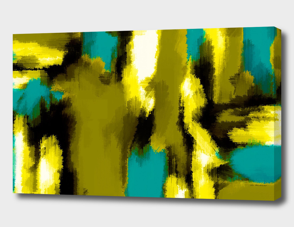 green blue yellow abstract painting background