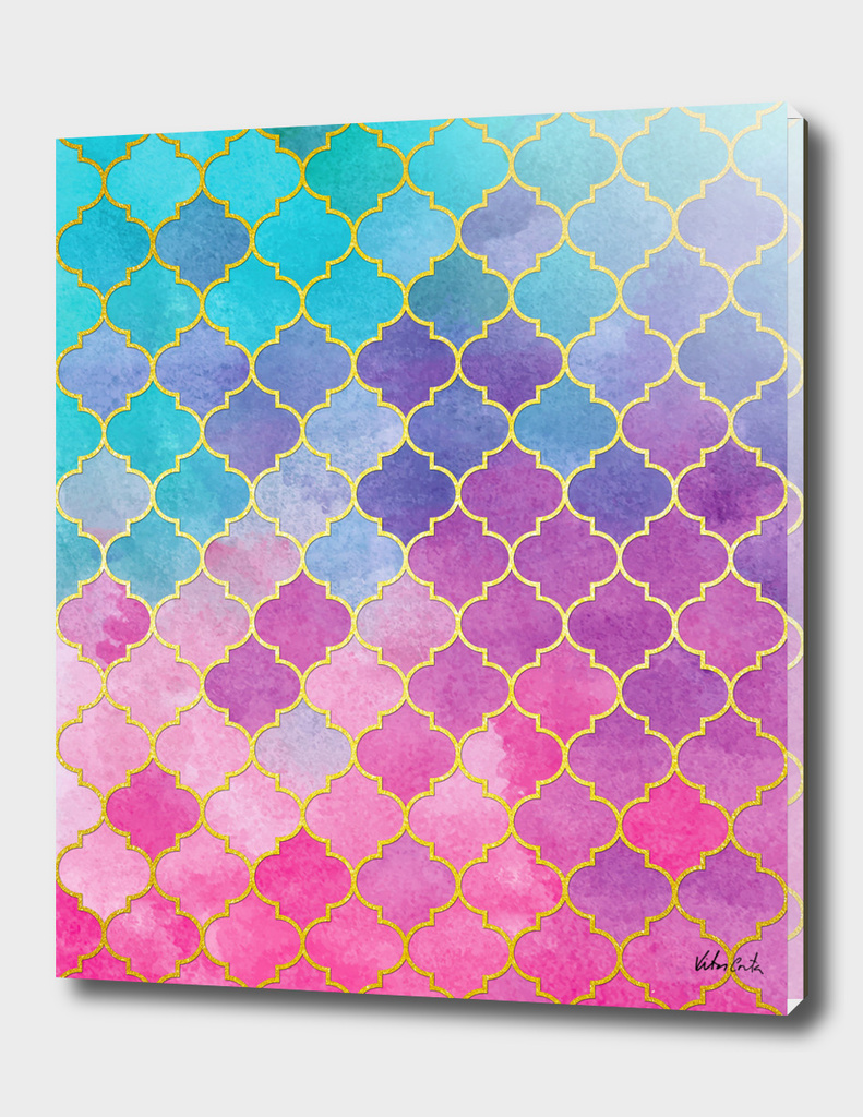 Blue and pink golden stained glass