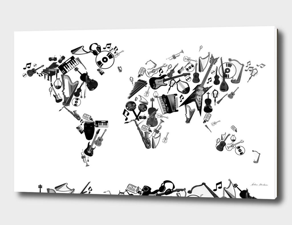 world map music instruments