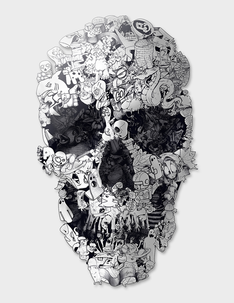 Doodle Skull - b&w