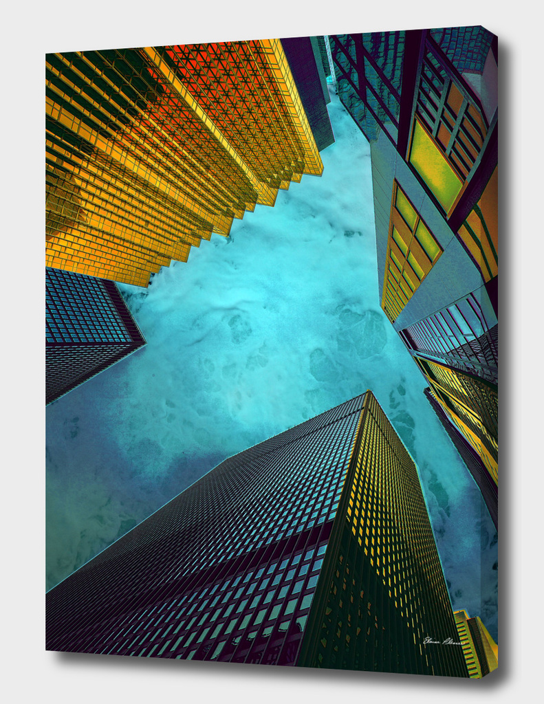 Blue and Gold Skyscrapers Under the Sea