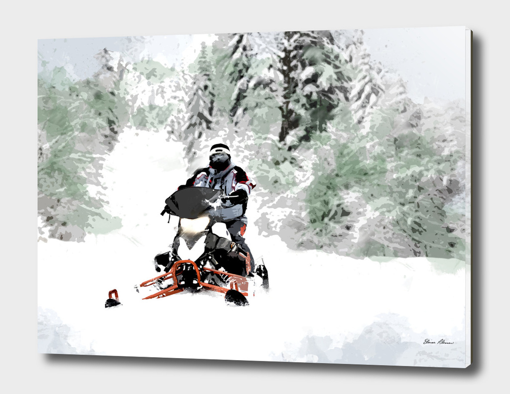 Snowmobile in Backwoods Snow