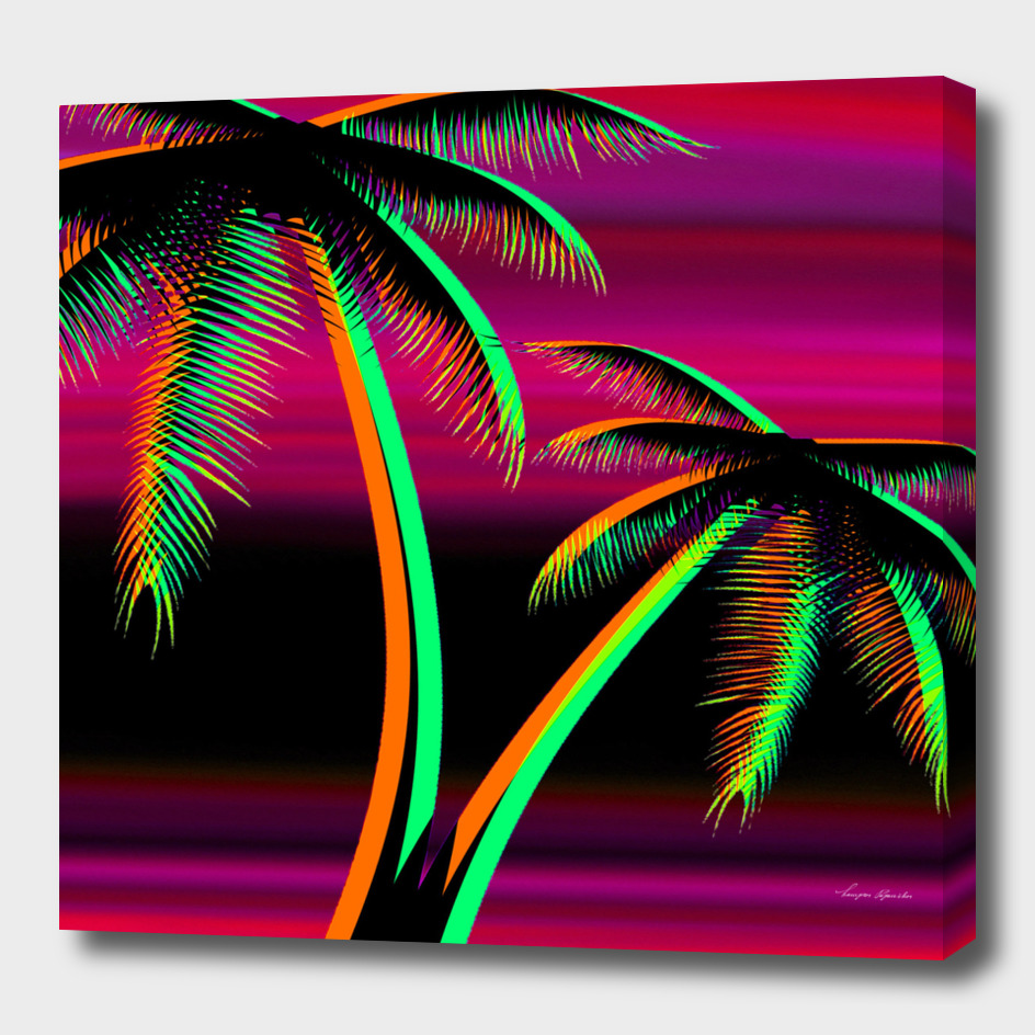 PALM TREES RED SUNSET