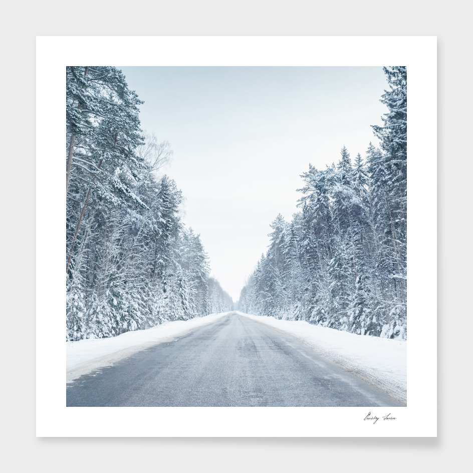 Movement on snowy road in morning