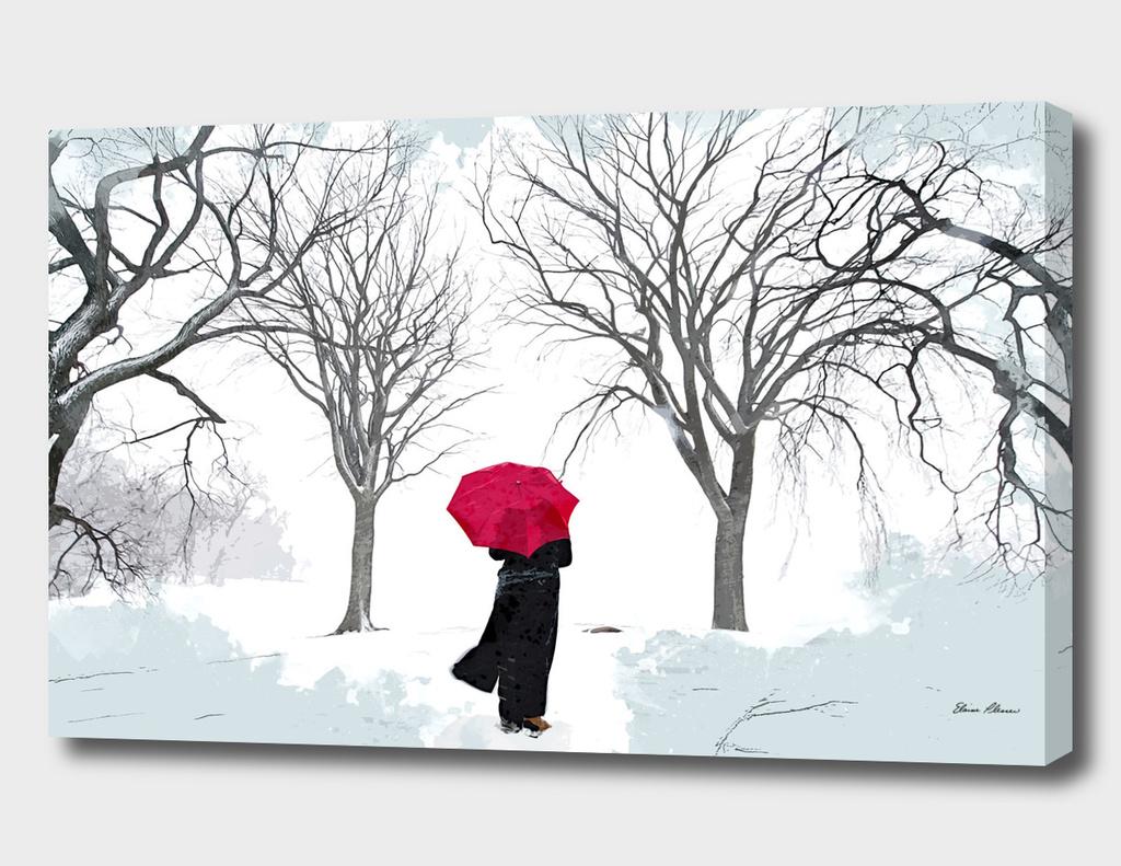 White Snow Grey Sky and Red Umbrella