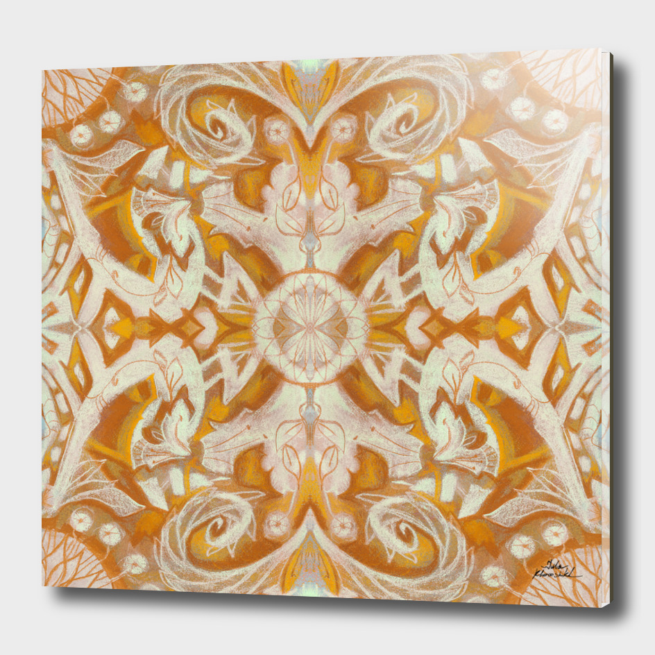 Curves and lotuses, abstract pattern