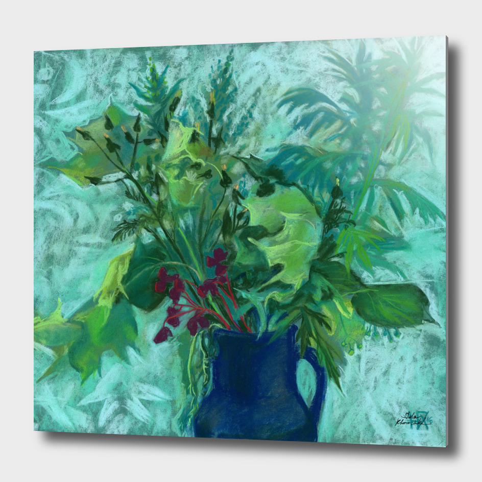 Sonchus and Mugwort, floral art, pastel painting
