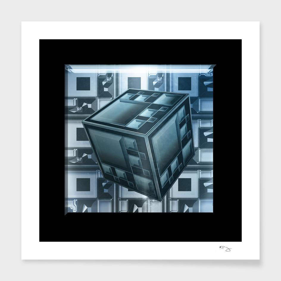 Steel Blue Techno Cube