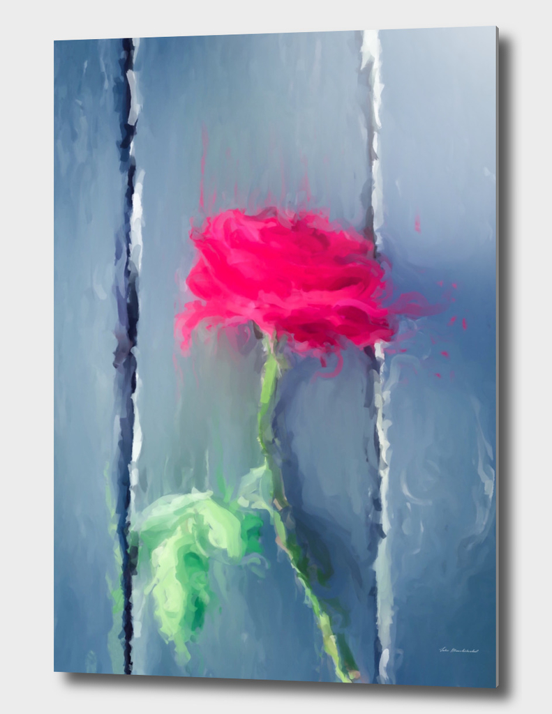painting red rose with green leave on the wood table