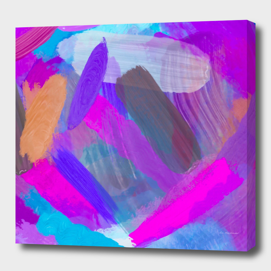 watercolor painting abstract in pink purple blue