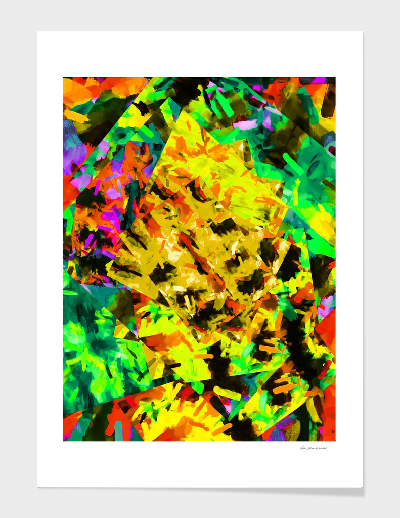 watercolor camouflage painting in green brown yellow pink