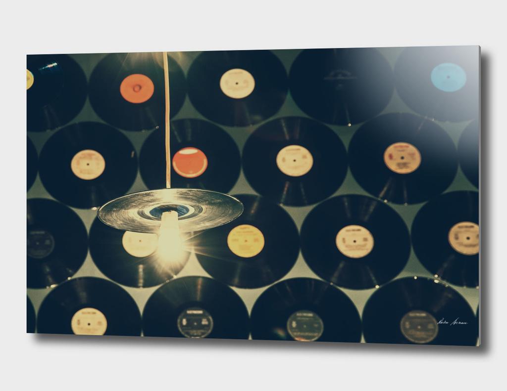 Retro Vinyl Discs On Wall