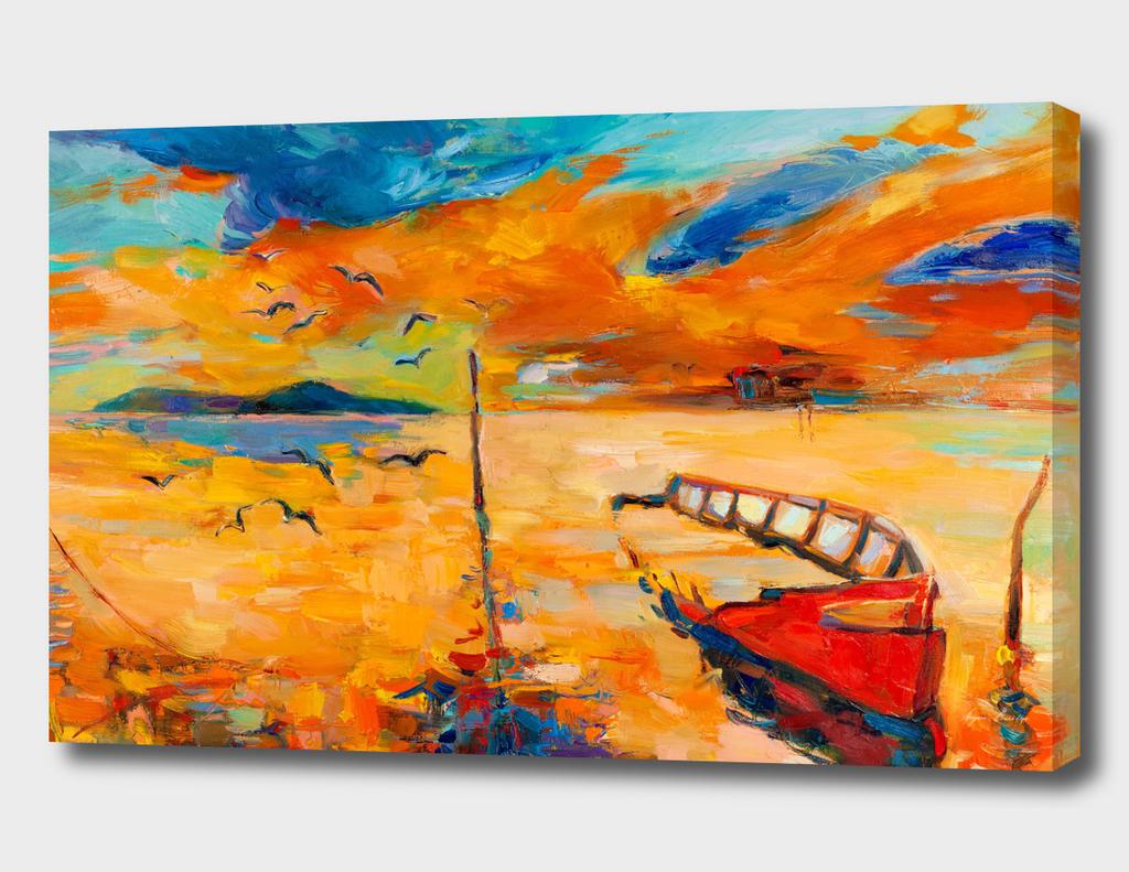 Ocean and fishing boat