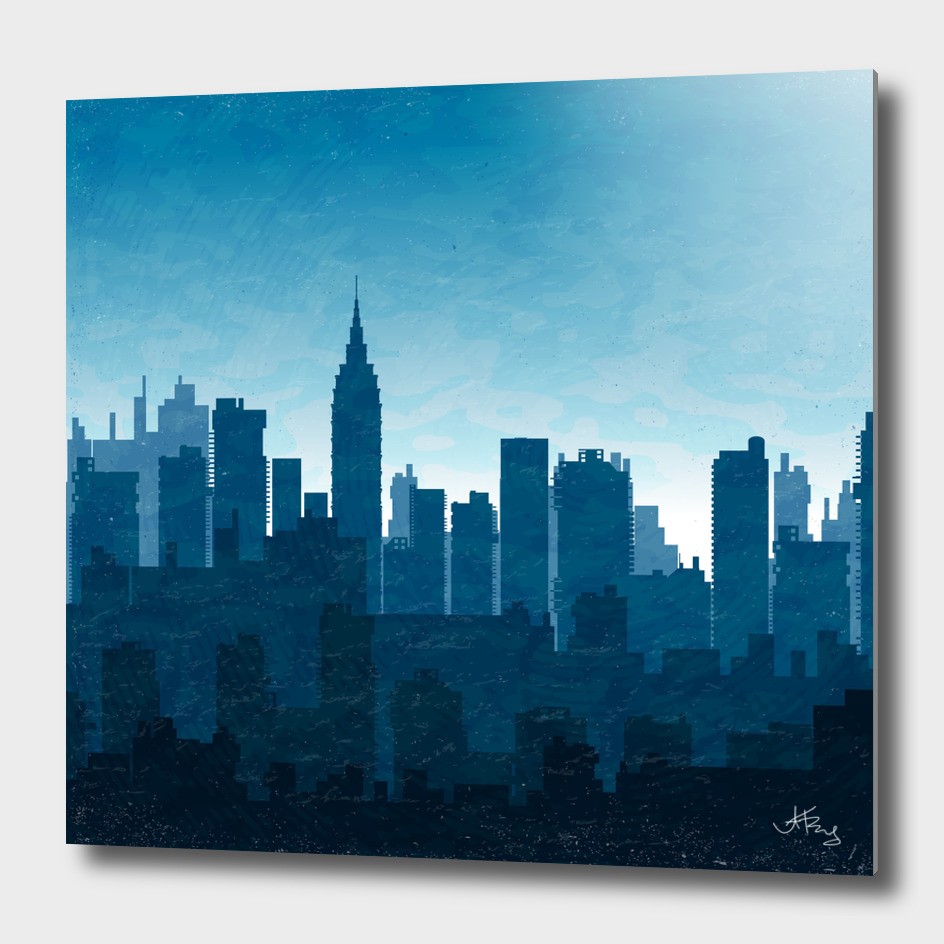 Silhouette of city  in blue