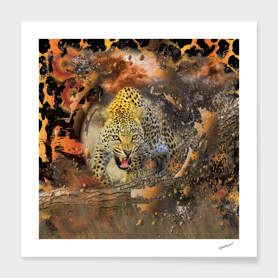 Leopard African Bush Theme 3D Collage