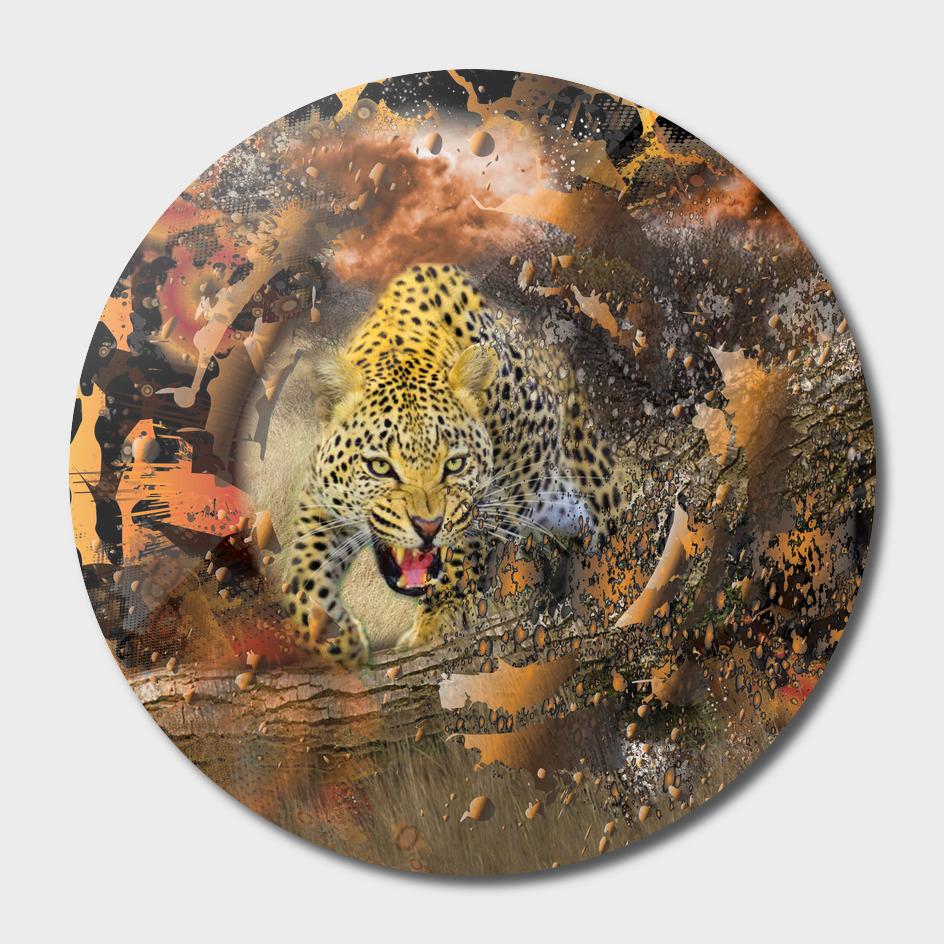 Leopard African Bush Theme 3D Collage