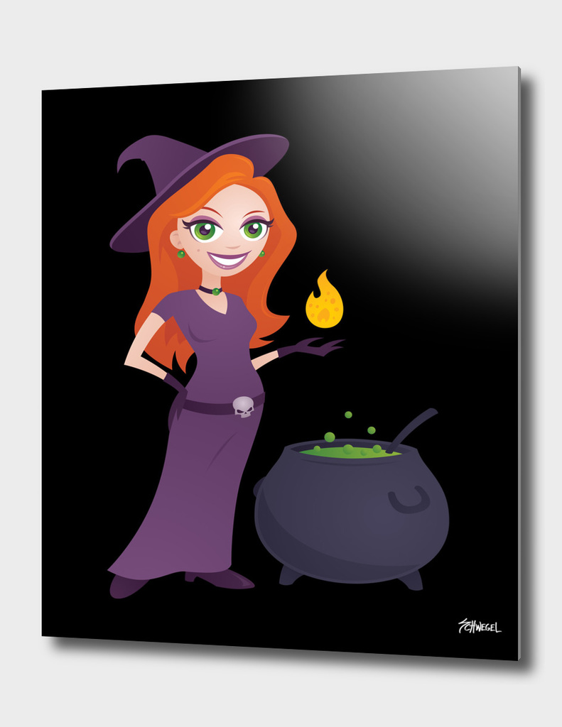 Pretty Witch with Cauldron