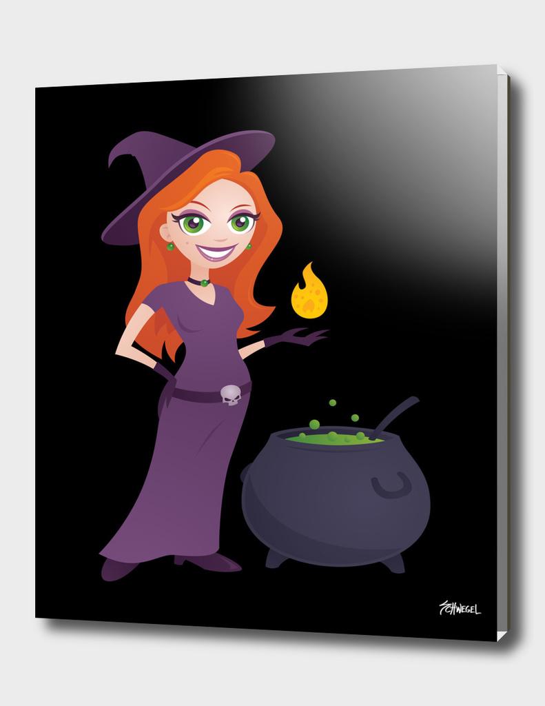 Pretty Witch with Cauldron