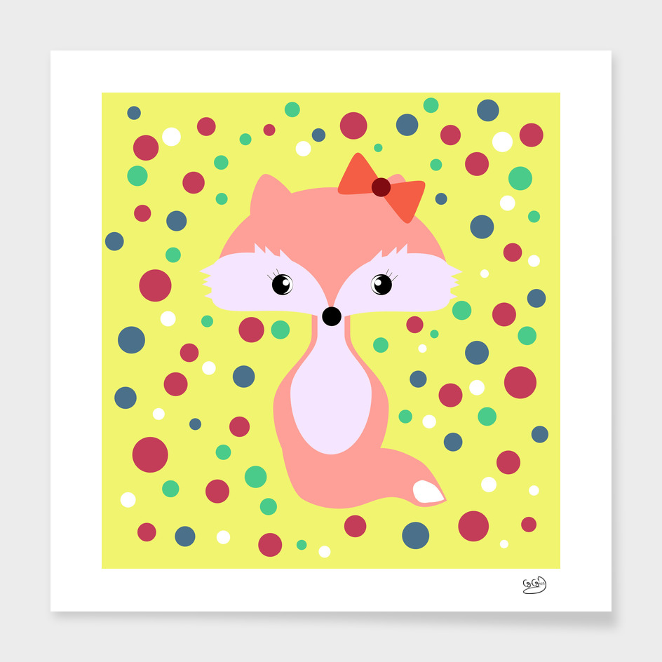 Cute fox among colorful bubbles