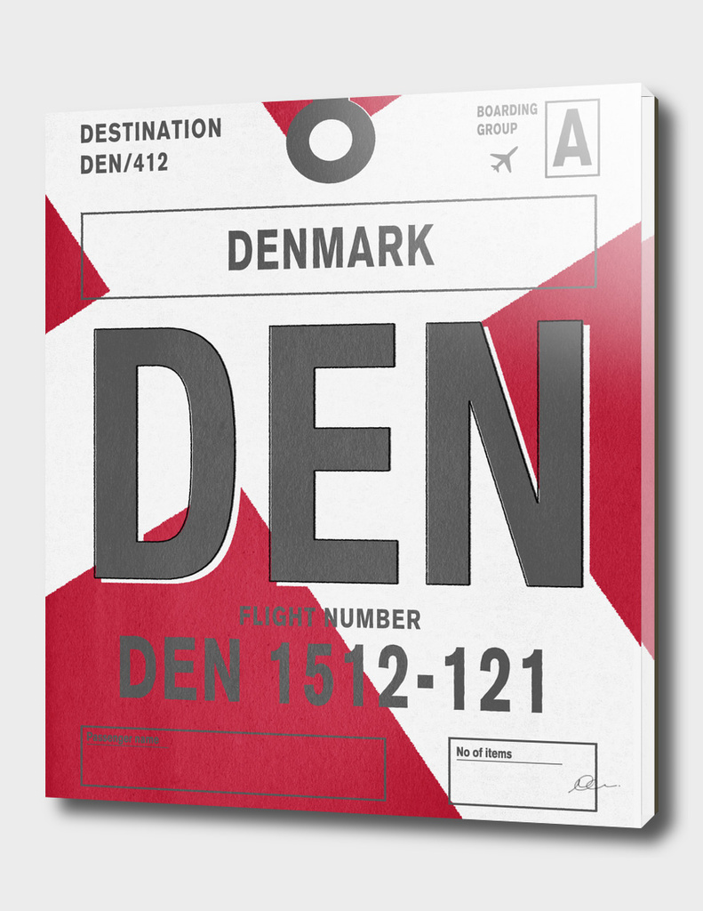 Denmark Vintage Luggage Tag Print