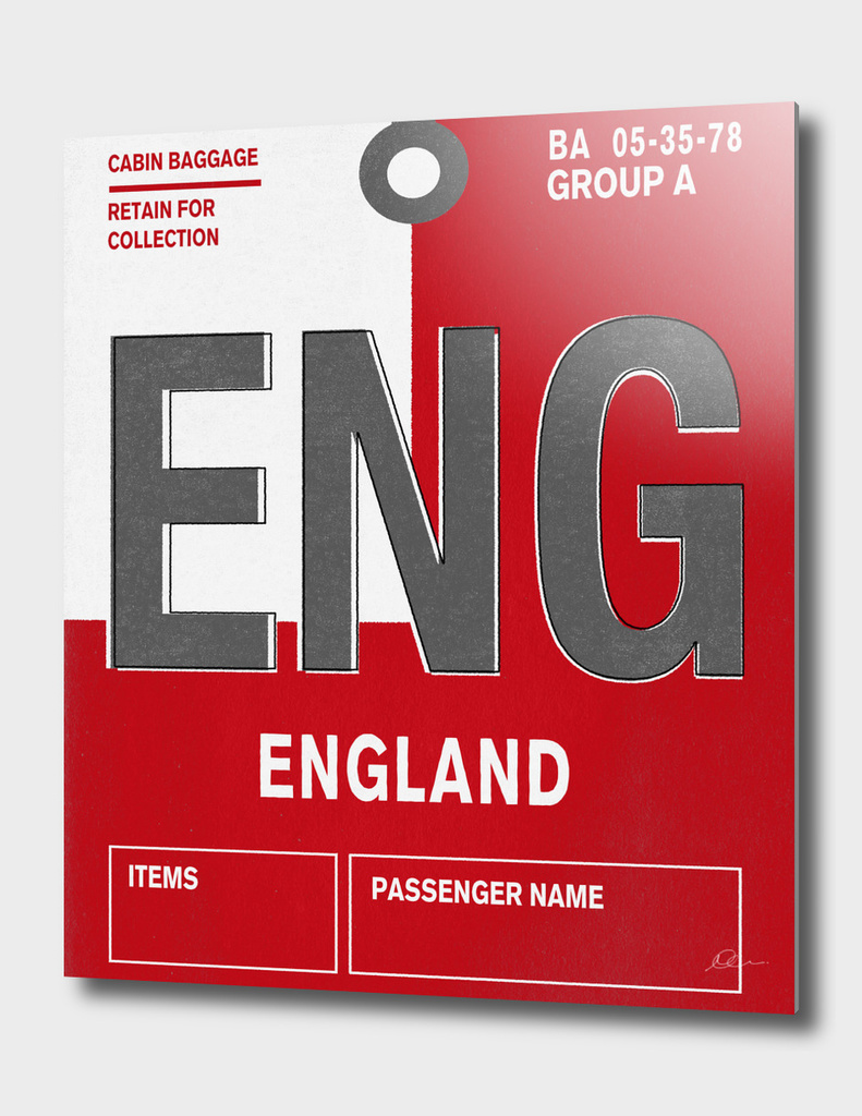 England Vintage Luggage Tag Print