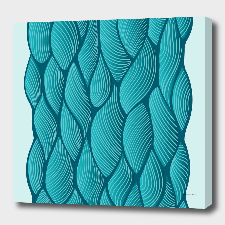 Seamless turquoise waves design