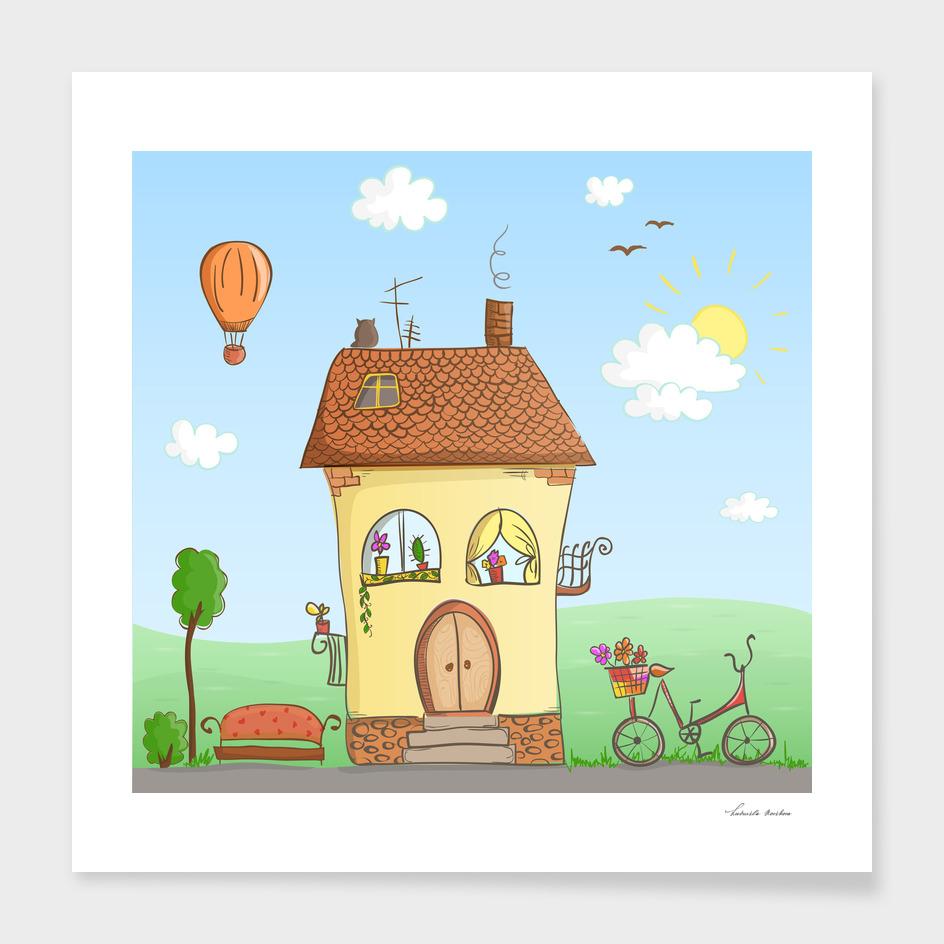 Cartoon house with a bike and balloon