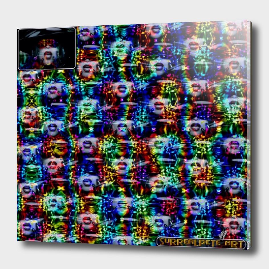 Lady Refracted In Rainbow Metal Tiles