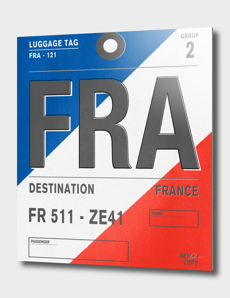France Vintage Luggage Tag Print