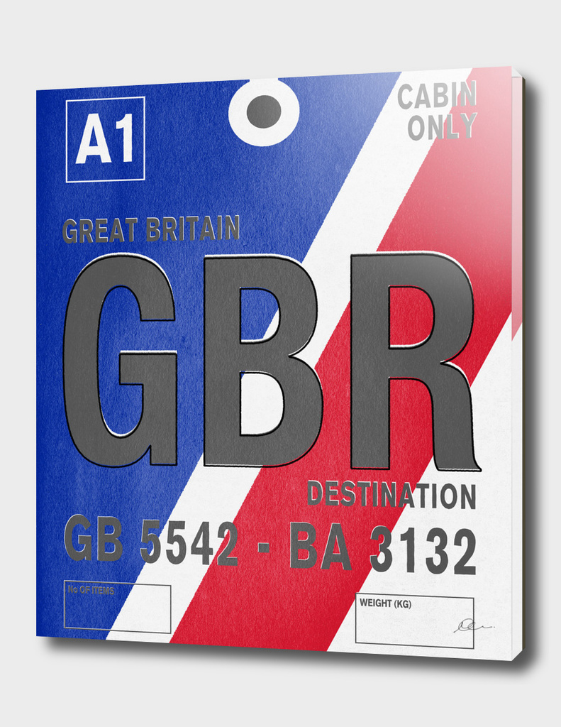 Great Britain Vintage Luggage Tag Print