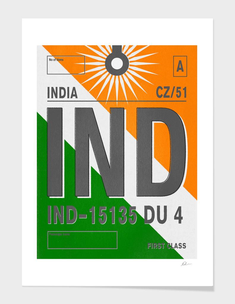 India Vintage Luggage Tag Print