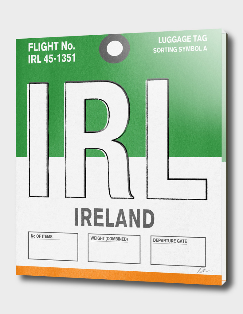 Ireland Vintage Luggage Tag Print