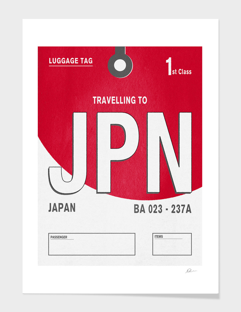 Japan Vintage Luggage Tag Print