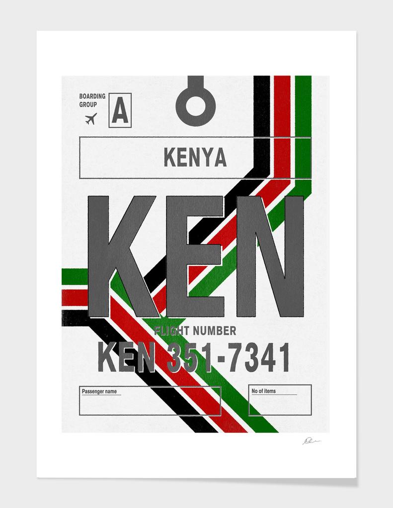 Kenya Vintage Luggage Tag Print