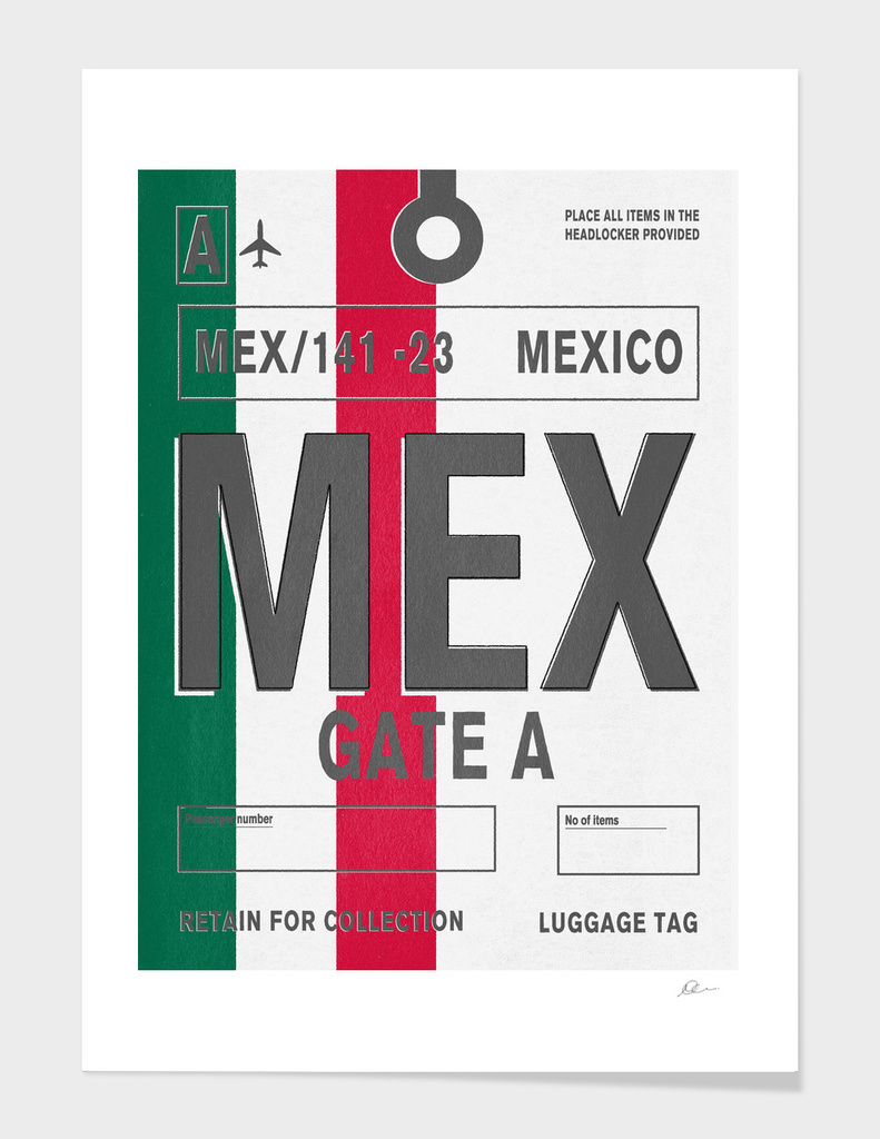 Mexico Vintage Luggage Tag Print