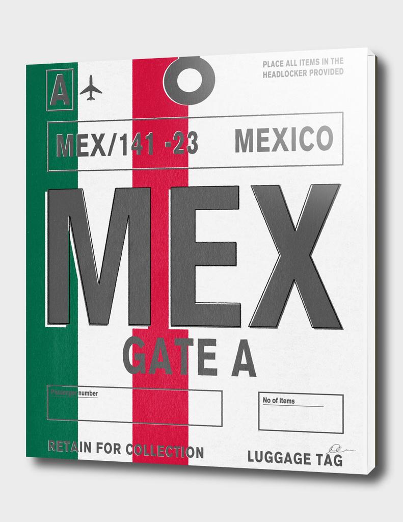 Mexico Vintage Luggage Tag Print
