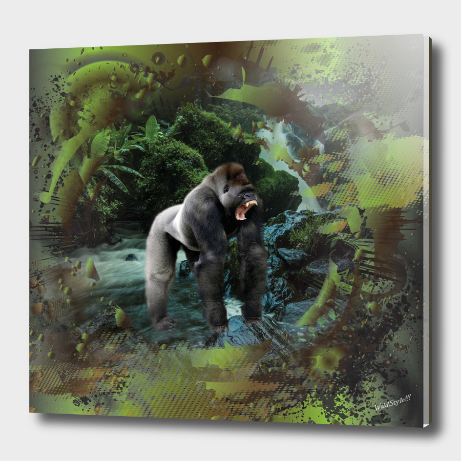 Gorilla Rain Forest Waterfall Collage