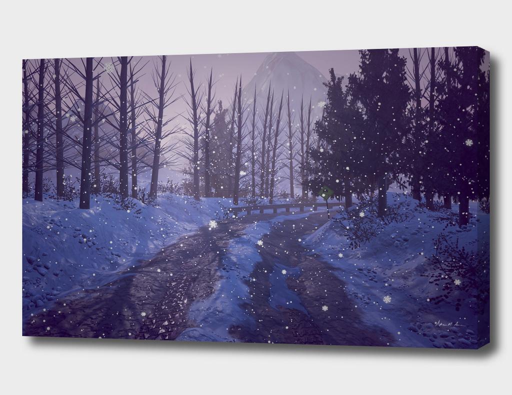 Snowy Road Sunrise