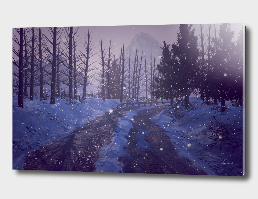 Snowy Road Sunrise
