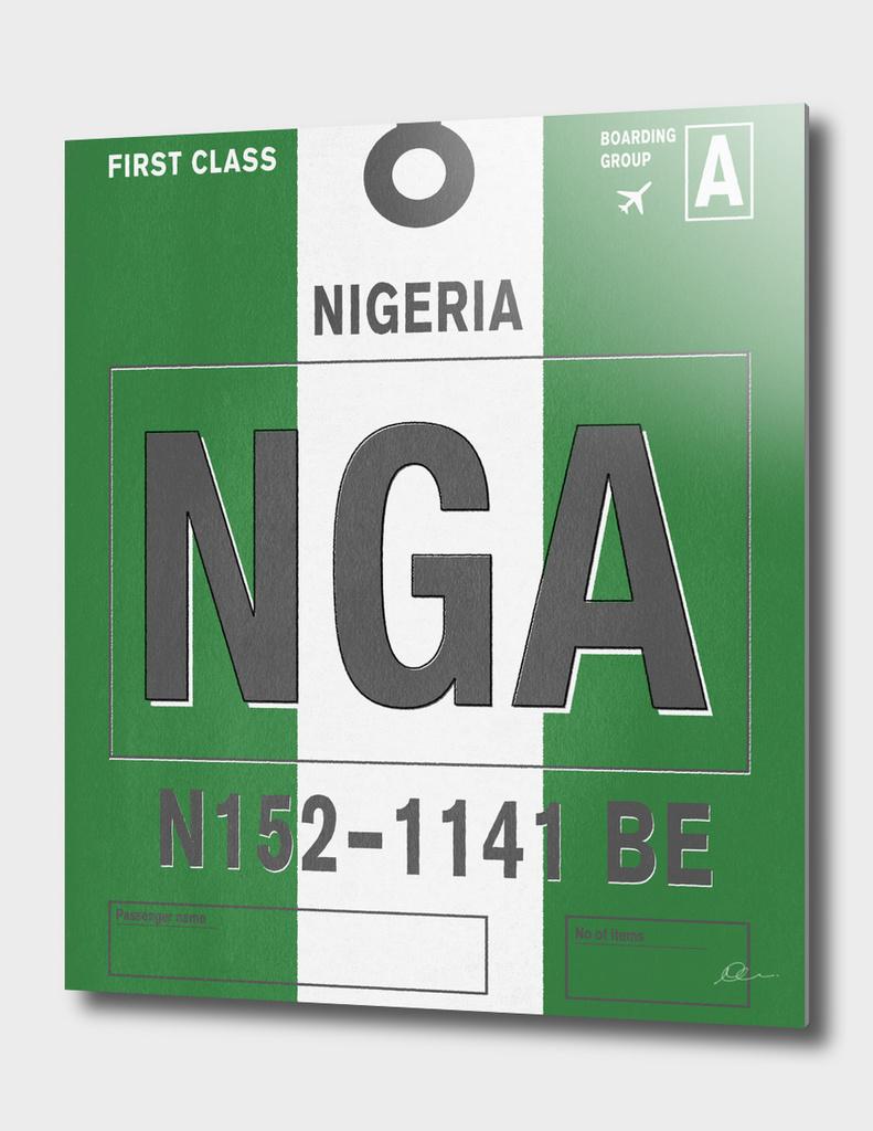 Nigeria Vintage Luggage Tag Print