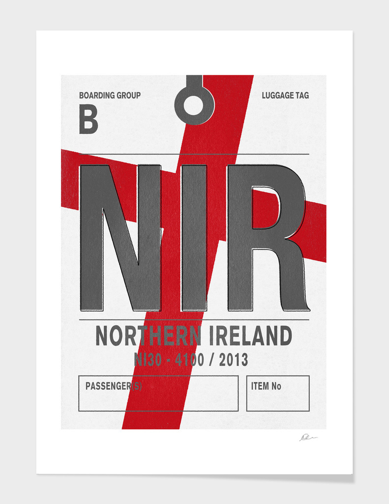 Northern Ireland Vintage Luggage Tag Print
