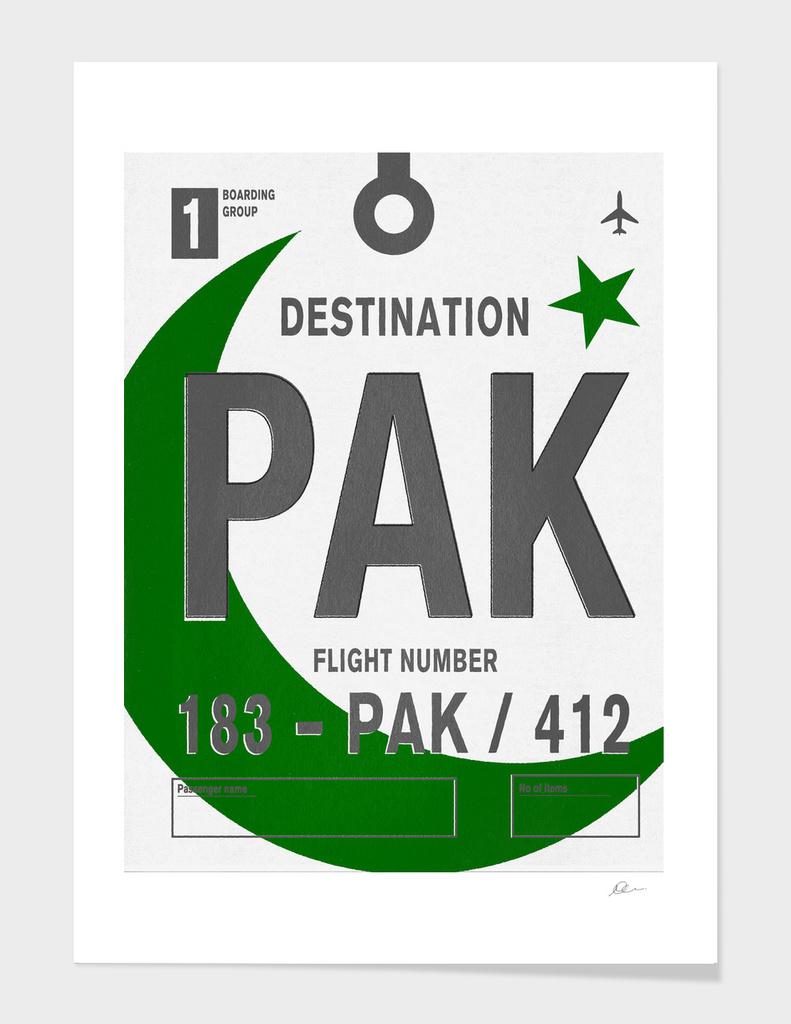 Pakistan Vintage Luggage Tag Print