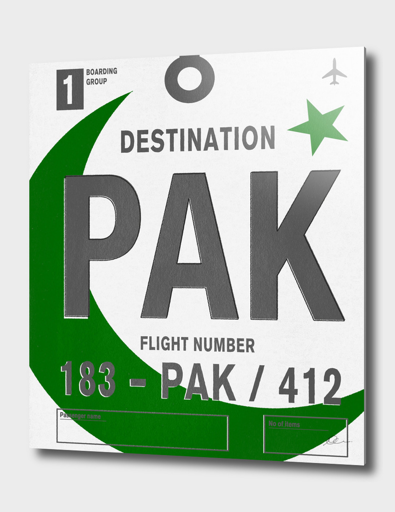 Pakistan Vintage Luggage Tag Print