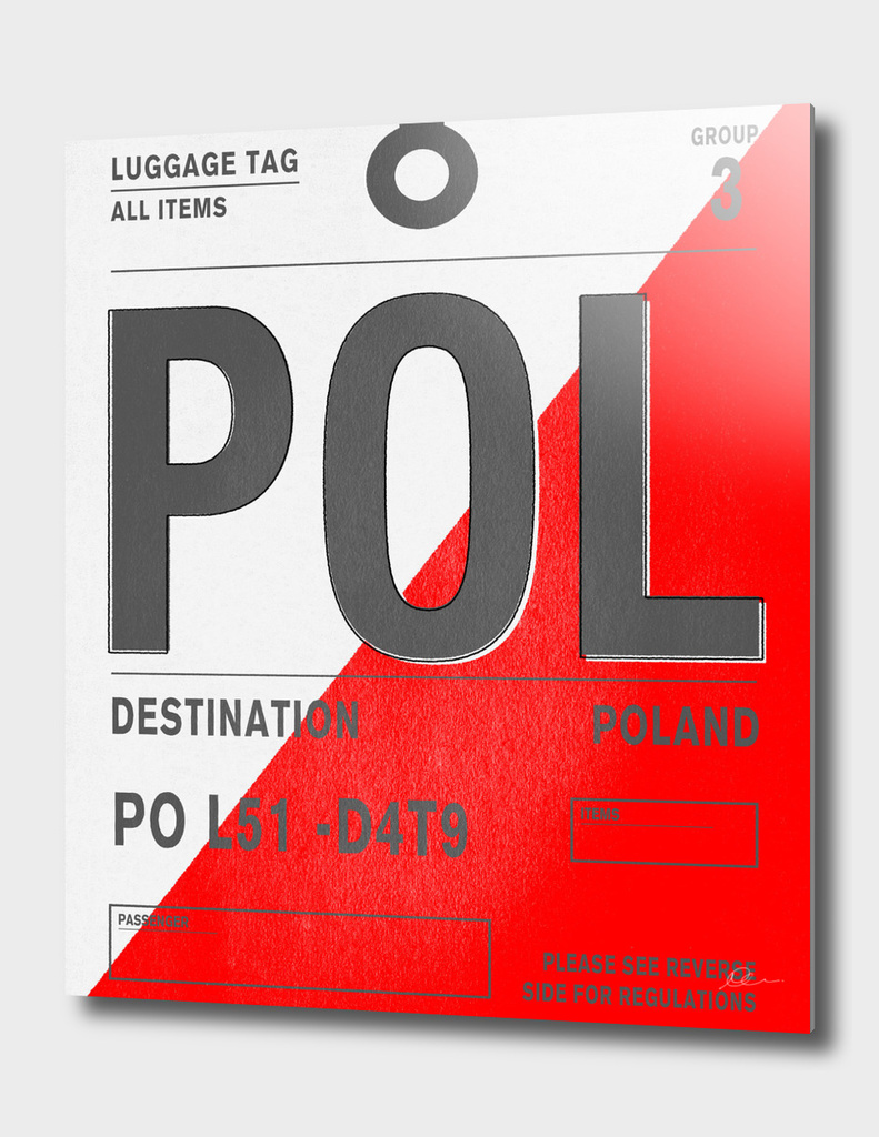 Poland Vintage Luggage Tag Print