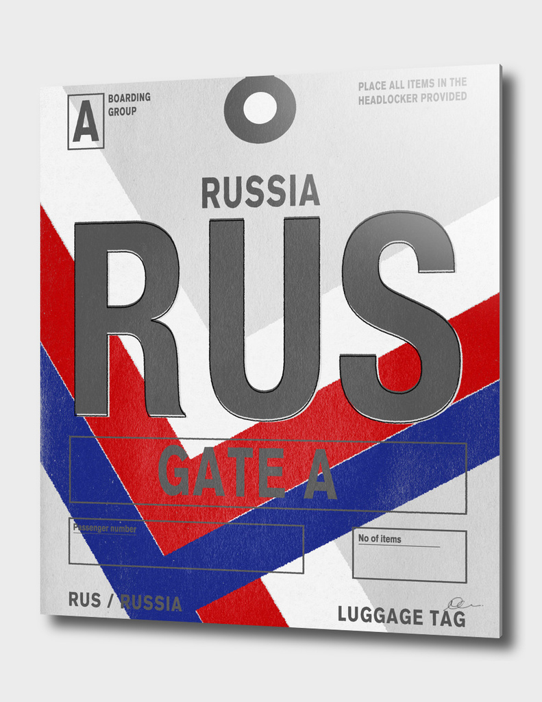 Russia Vintage Luggage Tag Print
