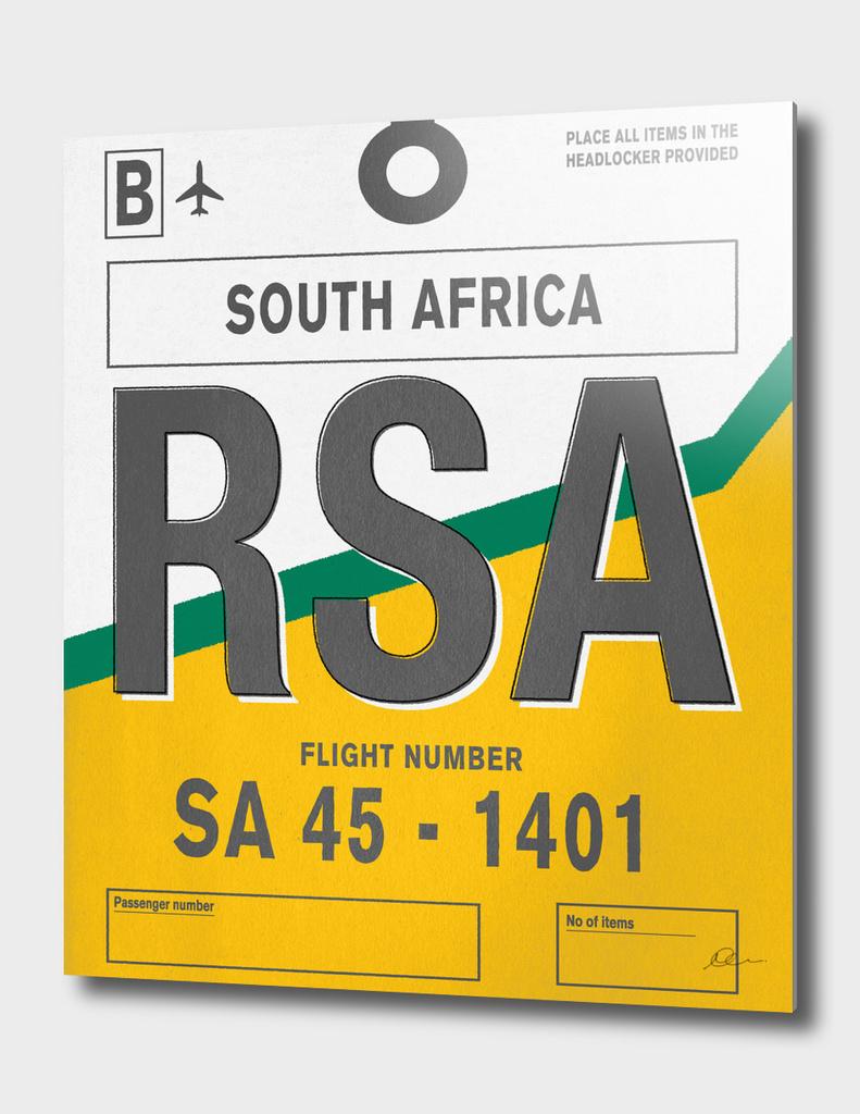 South Africa Vintage Luggage Tag Print